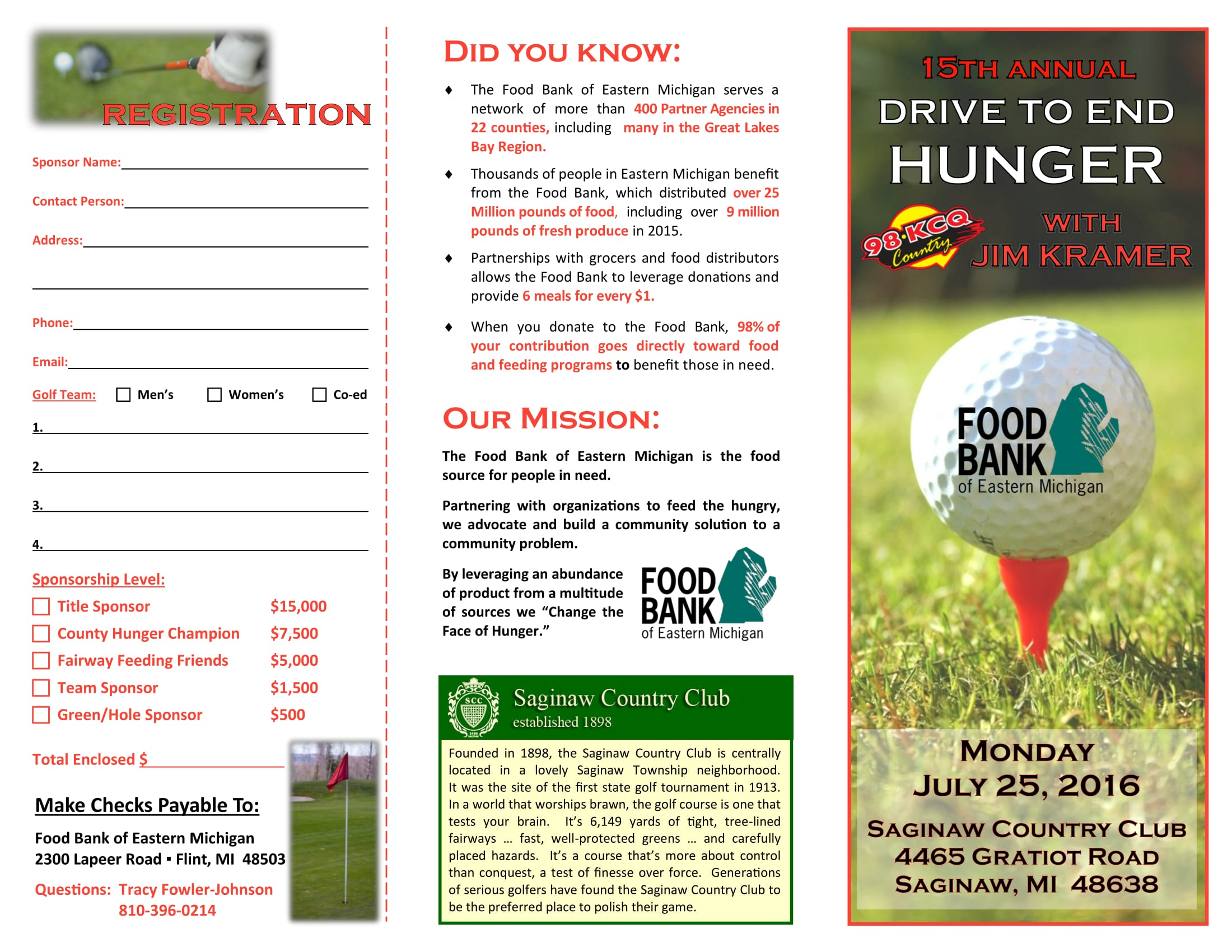 Food Bank of Eastern Michigan Drive to End Hunger Brochure -