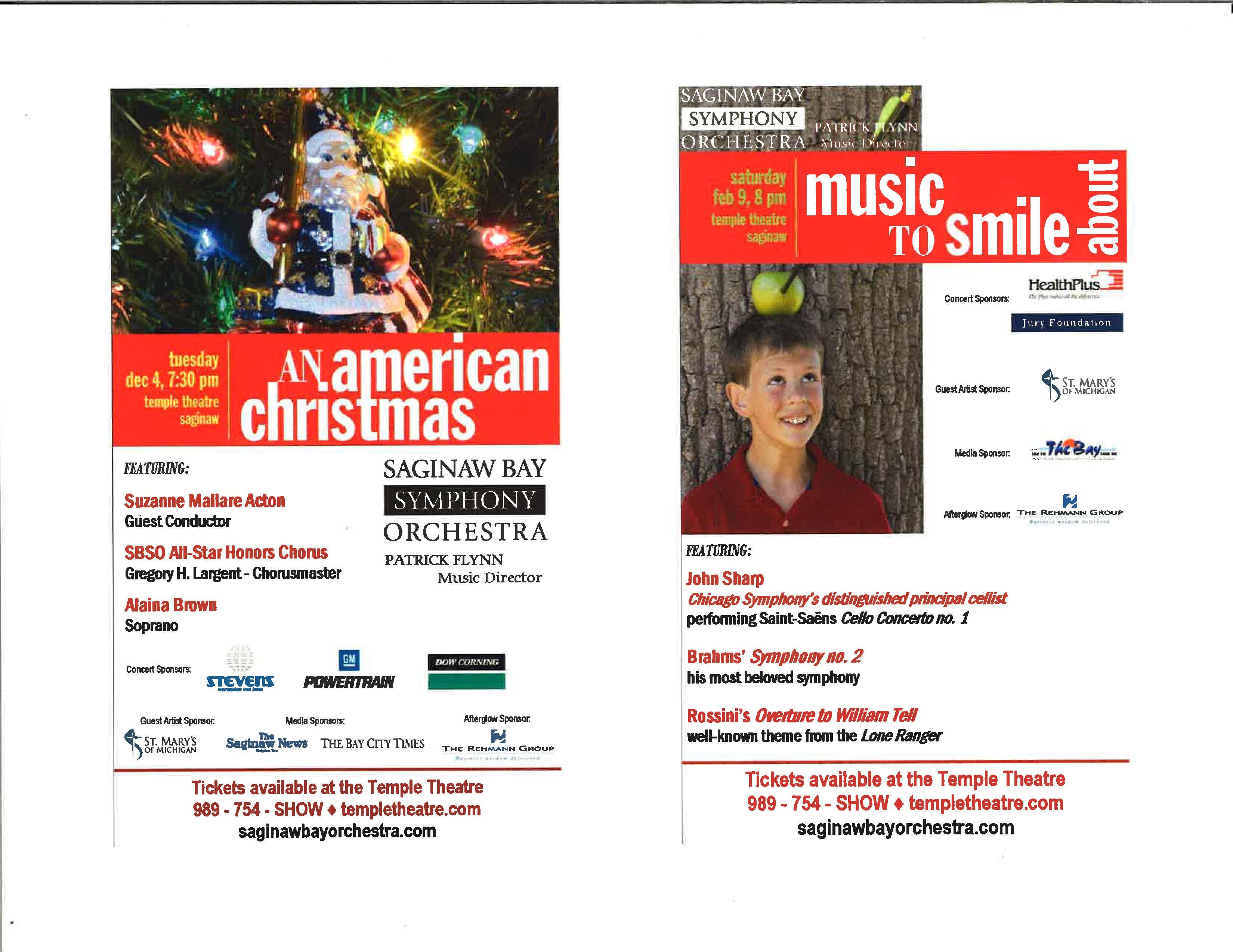 Saginaw Bay Symphony Orchestra Concert Season Ads -