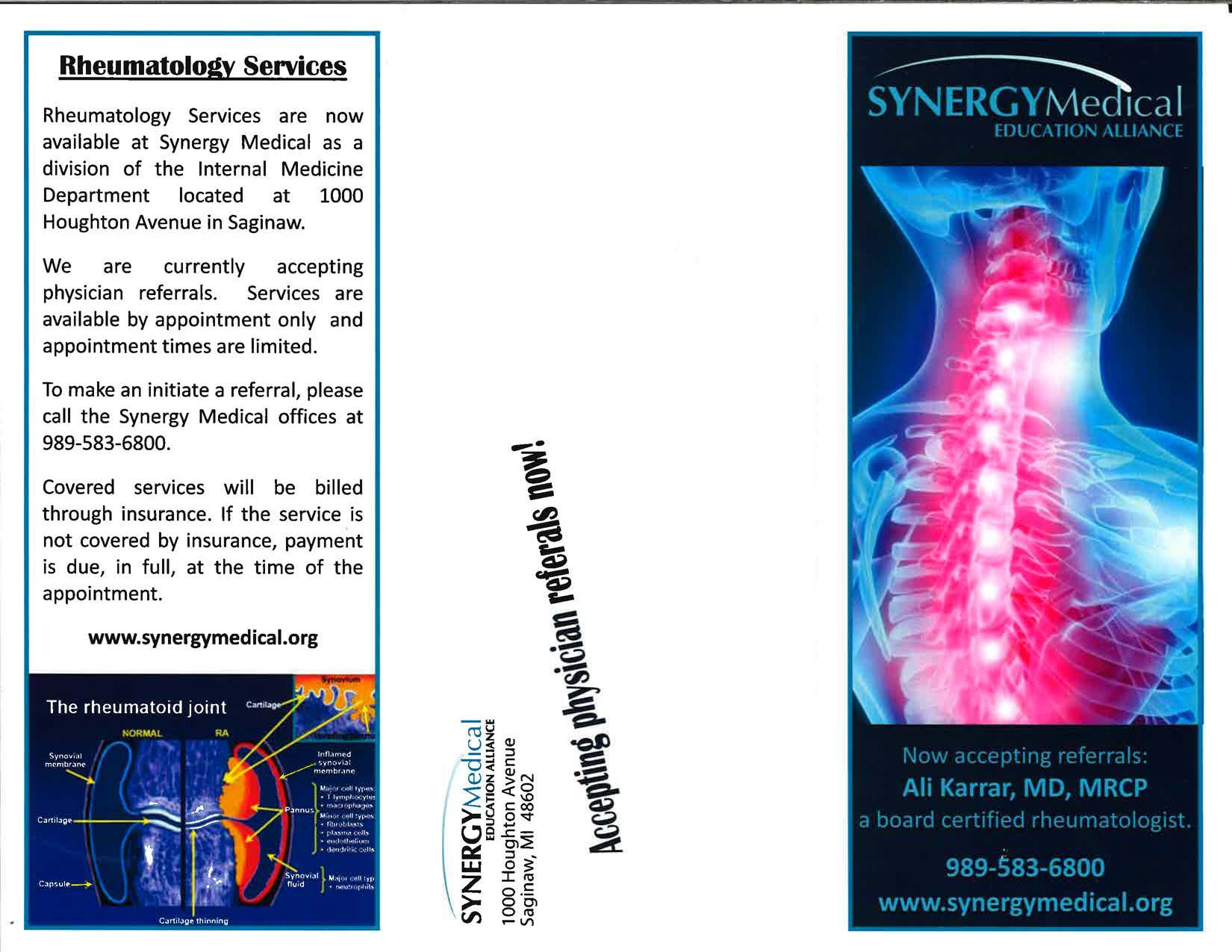 Synergy Medical Rheumatology Brochure -