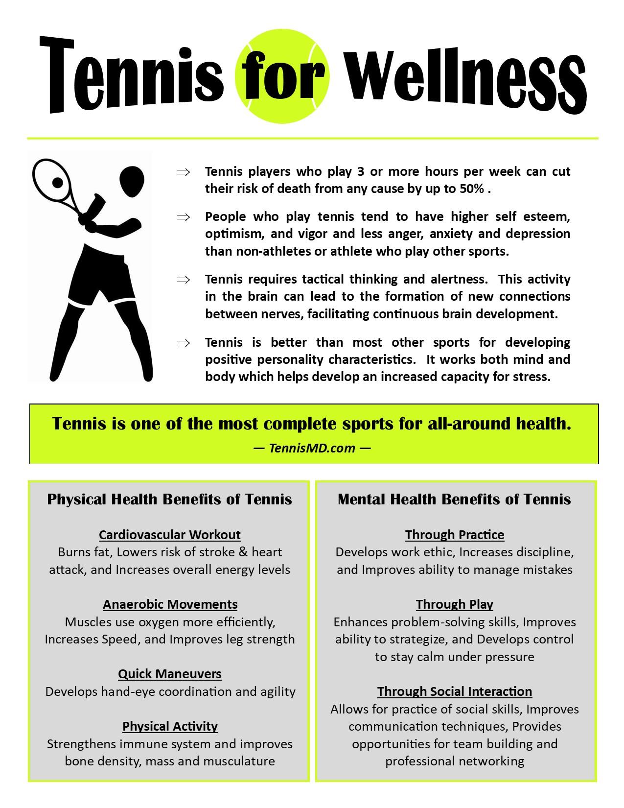 Tennis for Wellness Promotional Flier -
